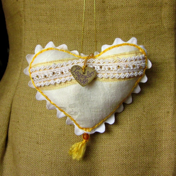 Handmade Hanging Heart Ornament, Beaded, White Linen, Yellow Stitching, Ric Rac, Filled with Wool and Dried Lavender