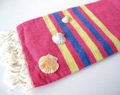Fuchsia Turkish Towel Peshtemal Fouta Turkish Beach Towel Turkish Bath Towel Organic Towel Bridesmaid Gift Wholesale Towel Spa Pool Towel