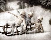 Three Wee Ones Sledding-Winter-Holiday- Vintage Postcard-Digital Image Download