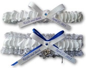 heart garter, Wedding Garter SET , beautiful personalized white satin and lace Lace with heart, name garter