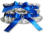 Rotal Blue and Ivory garter, Wedding Garter set , beautiful electric royal  blue and ivory, crystal garter, rhinestone garter