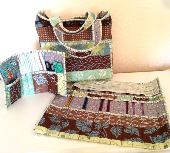 Quilted Knitting Bag Pattern : Quilted knit caddy tote set pattern no from