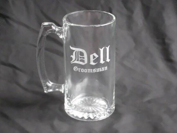 10 Custom Etched Groomsmen Beer Mugs