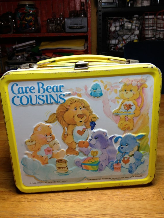 vintage  Aladdin industries American greetings Care Bear Cousins metal lunch box lunchbox RAD