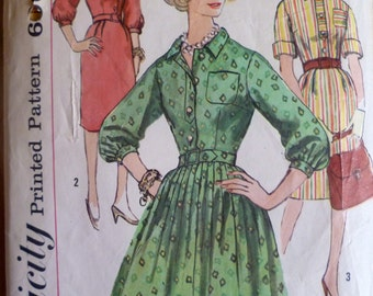60s Dress Pattern Simplicity 4002 Rockabilly or Wiggle Dress Bust 34 Shirtwaist Dress Vintage Dress Pattern Mad Men Dress