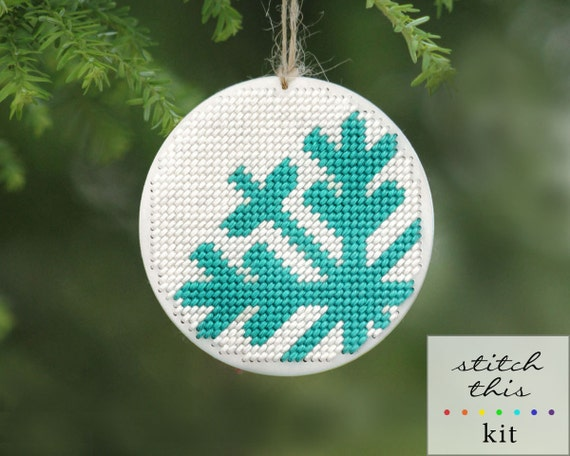 """SALE - christmas ornament needlepoint kit - diy - mod snowflake - 3.5"""" - turquoise and white - contemporary - modern"""