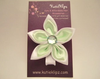 NEW....Elegant Mint Green and White Satin Flower Clip - Hair Clip,Hairclip,Hair Accessory,Barrette, Hairbow