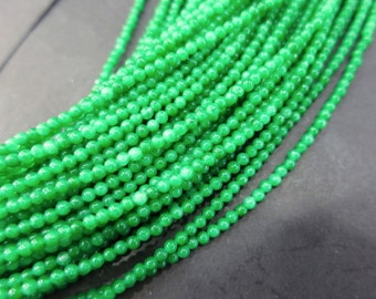 5 str -- Tiny 2mm Bright Green Jade Round Ball Beads - No8