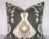 Pick Your Size / Java Ikat Pewter Pillow Cover - Square - Euro Sham - King - Standard - Lumbar - Grey - Ivory