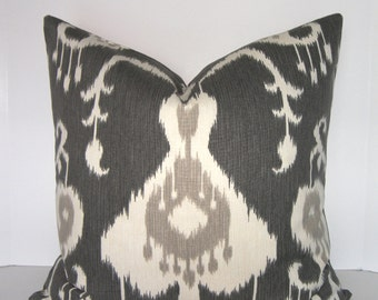 Pick Your Size / Java Ikat Pewter Pillow Cover - Square - Euro Sham - King - Standard - Lumbar - Grey - Ivory