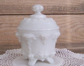 Vintage Milk Glass Dresser Jar