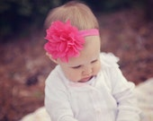 Pink baby headband,QUICK SHIP,  hot pink baby headband,  infant headband, newborn headband, hot pink chiffon flower headband, photo prop,