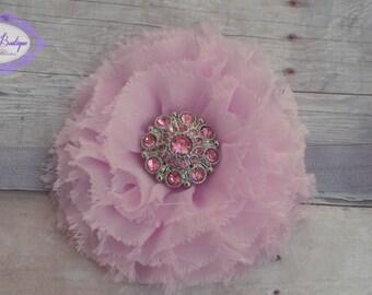 Baby headband, infant headband, newborn headband, light pink frayed flower on soft gray headband