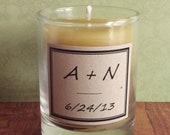 Wedding Candles Beeswax 50 Personalized Custom Monogram Handmade Natural Votive Unscented Summer Wedding Favors, Party Favors