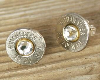 Bullet Earrings / 30-30 Caliber Nickel Bullet Stud Earrings WIN-3030-N-SEAR / Bullet Stud Earrings / Stud Earrings / Sterling Stud Earrings