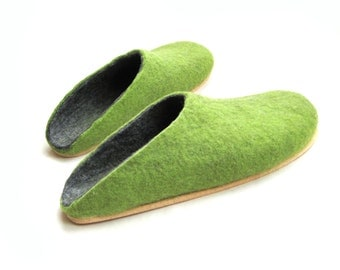 Green Gray Felted Clogs - Wool Slippers - Christmas in July - Minimalist Shoes - Womens Slippers - House Shoes - Rubber Soles - Gift for Her