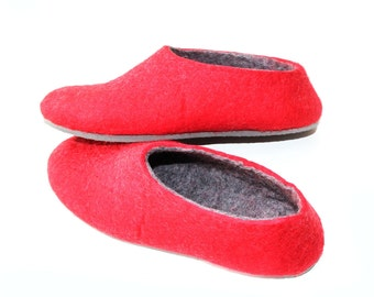 Red and Gray Felted Slippers - Wool Shoes - Minimalist Shoes - House Shoes - Christmas in July - Mix and Match - Rubber Soles - Womens Shoes