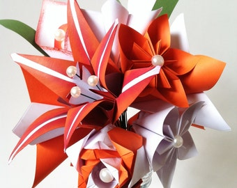 Fire Lily Paper Bouquet- One of a kind origami, calla lily, paper rose, first anniversary gift, perfect for her