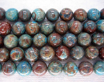 Natural Blue Sky Jasper Smooth Round Beads 12mm - 16 Inch Strand