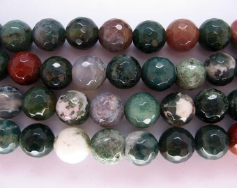 Full Strand Indian Agate Round Faceted Gemstone Beads 10mm