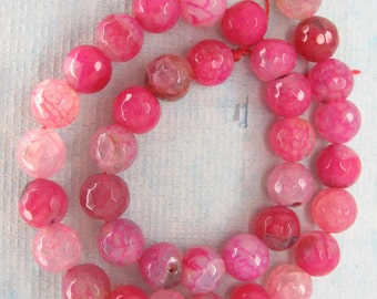 Fuchsia Pink Veins Agate Faceted Round Beads 10mm
