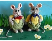 Mr & Mrs Corn Mouse knitted toys  Pattern only IMMEDIATE DOWNLOAD