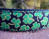 """Celtic Dog Collar Shamrocks 1"""" wide adjustable side release buckle - no martingale limited ribbon"""