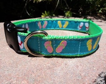 "Sale Dog Collar Beach Day 1"" wide Quick Release buckle - no martingale, limited ribbon"