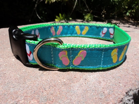 """Sale Dog Collar Beach Day 1"""" wide Quick Release buckle - no martingale, limited ribbon"""