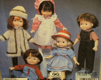 "Doll Clothes Pattern, Fisher Price My Friend Dolls, Coat, Pinafore, Dress, Overalls, Shirts, McCalls No. 8827 UNCUT Fits 16"",40.5 cm Dolls"
