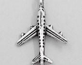 1 Antique Silver Airplane Pendant Charms 23mm Long