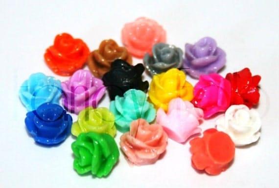 20 Fancy 7.5mm Rosette Flower Cabochons MIX DIY Earrings