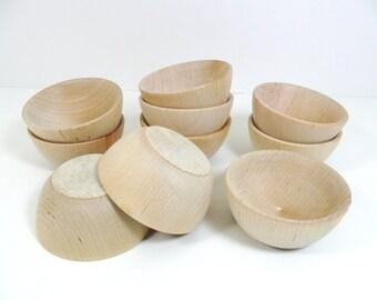 "10 Wood Bowls 2 1/2"" (6cm) Ring Cups Ring Bearer Unfinished Wood Bowl Trinket Bowl"