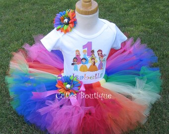 Rainbow Princess And Friends Birthday Outfit Set With Petti Tutu And Personalized Shirt --All Sizes 6 9 12 18 24 Months 2T 3T 4T