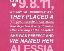 CUSTOM Typography Print - Birth Story - Nursery Art  - Size 8x10