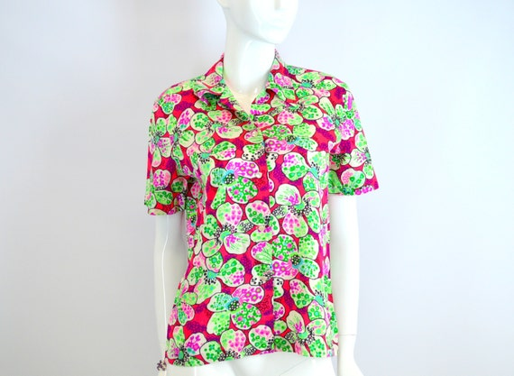Shirt Neon Pink and Green Flower Power Barkcloth Vintage 1960s Size Medium Large