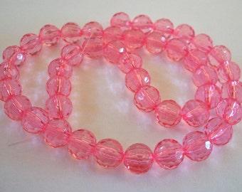 Light Pink Acrylic Round Bead Strand