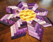 Pretty Purple Patchwork Posie Table Topper A Sweet Tooth Quilts EXCLUSIVE