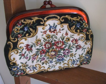 Vintage Needlepoint Clutch / Purse