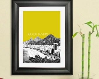 Rio De Janeiro Skyline Poster - Rio De Janeiro Brazil 3 Art Print - 8 x 10 Choose Your Color