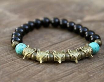 BLACK FOX-Black Onyx beaded bracelet Bohemian Native Wild Rustic Woodland Hippie stretch bracelet stacking bracelet