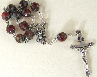 handmade Catholic pocket rosary tenner with red picasso beads in silver