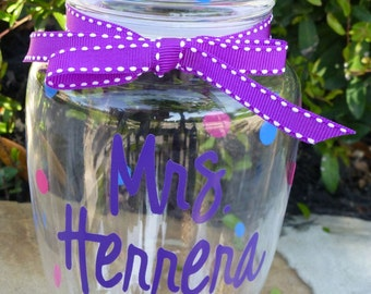 Teacher Gift - Personalized Acrylic Jar - Small