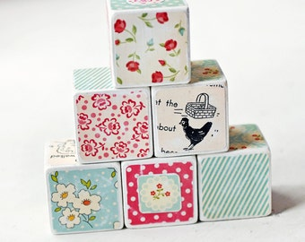 Wooden Decorative Blocks retro flowers red white aqua