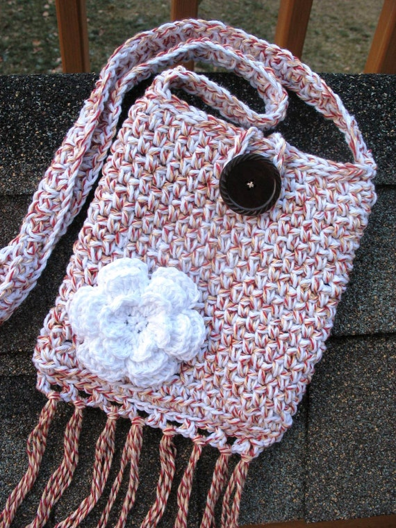 Items similar to Crochet Cross-Body Bag/ Purse/ Pouch in Cotton, Fully ...