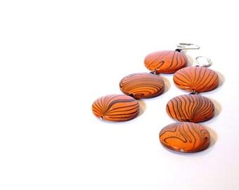 Orange Wooden Dangle Earrings, Long, Modern Statement Jewelry