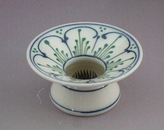 Stoneware Ikebana Vase  Pin Vase Wedding centerpiece Blue Scallops with Green Accents
