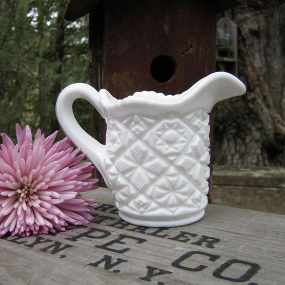 SALE - Milk Glass Winburn - Daisy and Button Pitcher - Creamer