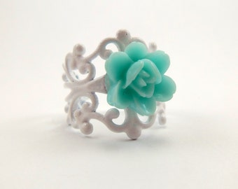 Light Blue Rose Ring with White Filigree Adjustable Band