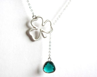 Green Emerald Lucky Clover Lariat Necklace in Silver-  May Birthstone, Irish, St. Patricks, original design by ACutieChick.